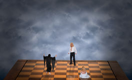 Concept of Good Battle Evil, Man Save Woman Abstract Stock Photo