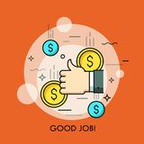 Concept of good job, approval, successful completion of work, financial success. Human hand giving thumbs up gesture and falling dollar coins. Concept of good Royalty Free Stock Photography