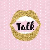 Concept of gossip or love. Female lips speak. Flat design, vector illustration. Royalty Free Stock Photography