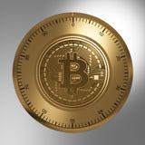 Concept Gouden Bitcoin zoals een Veiligheidsslot Stock Foto's