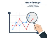 The concept of graph growth. Businessman holding a magnifier. The stock market has arrived. Vector illustration of a. Flat design. Isolated on white background Royalty Free Stock Photo
