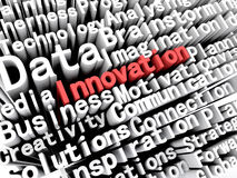 Concept graphic depicting business and innovation written in red. A concept graphic depicting business words aligned next to each other with the word innovation Royalty Free Stock Photo