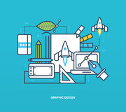 Concept - graphic design and creation, thinking, inspiration implement ideas. stock illustration