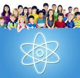 Concept graphique d'icônes de physique de la Science d'éducation Image stock
