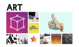 Concept graphique de boîte de simplicité de conception d'innovation images stock