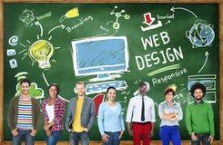Concept graphique de Webdesign de disposition de créativité satisfaite photographie stock libre de droits