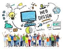 Concept graphique de Webdesign de disposition de Digital de créativité satisfaite photographie stock libre de droits