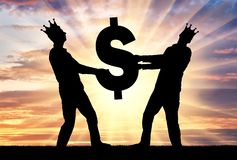 Concept of greed, selfishness in business. Two greedy and selfish men with crowns on their heads can not divide the dollar sign. Concept of greed, selfishness in stock images