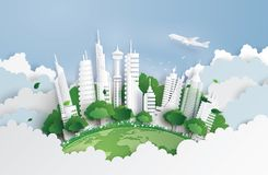 Green city with building. stock illustration