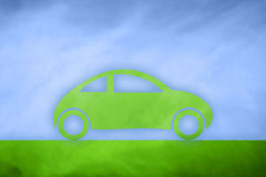 Concept green eco car icon background Stock Photos