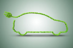 The concept of green electric car 3d rendering Stock Photography