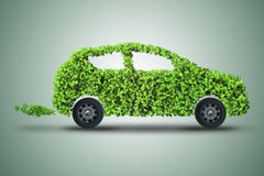 The concept of green electric car 3d rendering Royalty Free Stock Photo