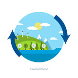 Concept of green energy. Flat design vector concept illustration with icons of ecology, environment and green energy Royalty Free Stock Photos