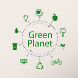 Concept green planet, flat style. Vector illustration of a concept green planet, flat style Royalty Free Stock Image