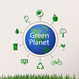 Concept green planet, flat style. Vector illustration of a concept green planet, flat style Stock Photo