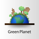 Concept green planet, flat style. Vector illustration of a concept green planet, flat style Royalty Free Stock Photo