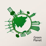 Concept green planet, flat style. Vector illustration of a concept green planet, flat style Stock Photos
