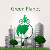 Concept green planet, flat style. Vector illustration of a concept green planet, flat style Royalty Free Stock Photos