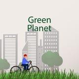Concept green planet, flat style Stock Photos