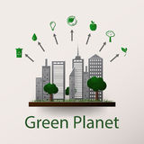 Concept green planet, flat style. Vector illustration of a concept green planet, flat style Royalty Free Stock Photography
