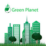 Concept green planet, flat style. Vector illustration of a concept green planet, flat style Stock Photography