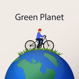 Concept green planet, flat style Royalty Free Stock Photo