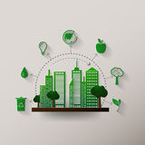 Concept green planet, flat style Royalty Free Stock Image