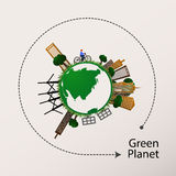 Concept green planet, flat style Royalty Free Stock Photography