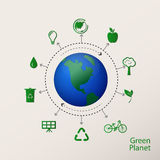 Concept green planet, flat style Stock Photography