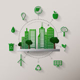 Concept green planet, flat style. Vector illustration of a concept green planet, flat style Stock Image