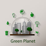 Concept green planet, flat style Royalty Free Stock Images