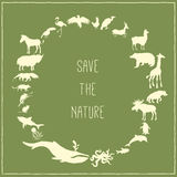 Concept green poster with animals silhouettes Stock Images