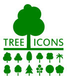 Concept green tree set. Twelve concept  green tree set silhouette Stock Photography