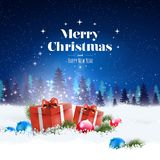 The concept of a greeting card with a stylish Merry Christmas and Happy New Year lettering