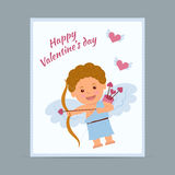 The concept of greeting cards for Valentine's Day in style flat. Cupid shoots arrows of love Stock Images