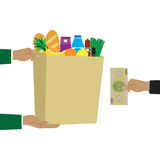 Concept for grocery delivery. Royalty Free Stock Images