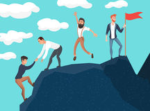 Concept groepswerk Bedrijfsmensen in bergen Leider op de bovenkant Vectorillustratie in beeldverhaalstijl Stock Foto
