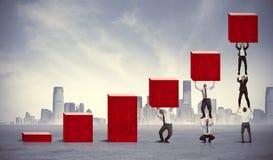 Groepswerk en collectieve winst Stock Foto's