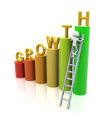 Concept of growth. 3d man climbing ladder of growth Stock Photography