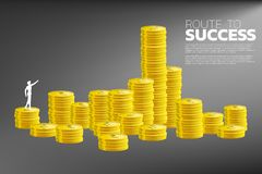 Silhouette of businessman point to higher stack of coin. royalty free stock images
