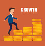 Concept growth success businessman walk stairs coins Royalty Free Stock Photo