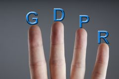 Concept of GRPR - general data protection regulation. Business man and concept of GRPR - general data protection regulation Royalty Free Stock Images
