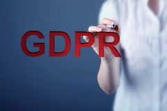 Concept of GRPR - general data protection regulation. Business woman and concept of GRPR - general data protection regulation Royalty Free Stock Images