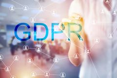 Concept of GRPR - general data protection regulation. Business woman and concept of GRPR - general data protection regulation Royalty Free Stock Photography