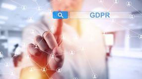 Concept of GRPR - general data protection regulation. Business woman and concept of GRPR - general data protection regulation Stock Photography