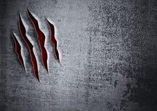 Concept grunge endommagé de mur en métal Images stock
