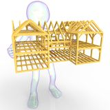 Concept guy holding wooden house isolated on background 3d rendering Royalty Free Stock Photo