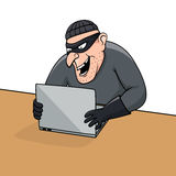 Concept of hacking. Cartoon thief trying to hack personal information. Stock Photo