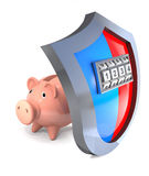Concept of hacking  protective shield of piggy bank. Royalty Free Stock Photography