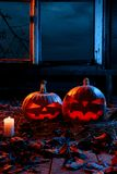 The concept of Halloween. Two luminous evil scary pumpkins, jack. Lantern, with candles, leaves and eerie branches outside the window with a warm and cold blue royalty free stock photos